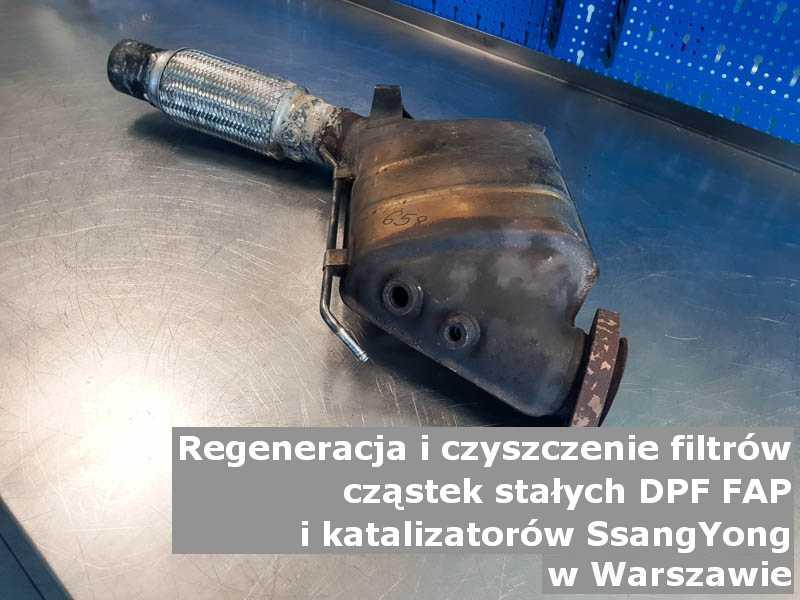 Zregenerowany filtr cząstek stałych FAP marki SsangYong, w warsztacie, w Warszawie.
