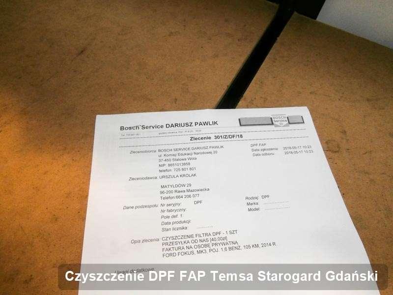 Filtr cząstek stałych FAP do samochodu marki Temsa w Starogardzie Gdańskim wypalony na odpowiedniej maszynie, gotowy spakowania
