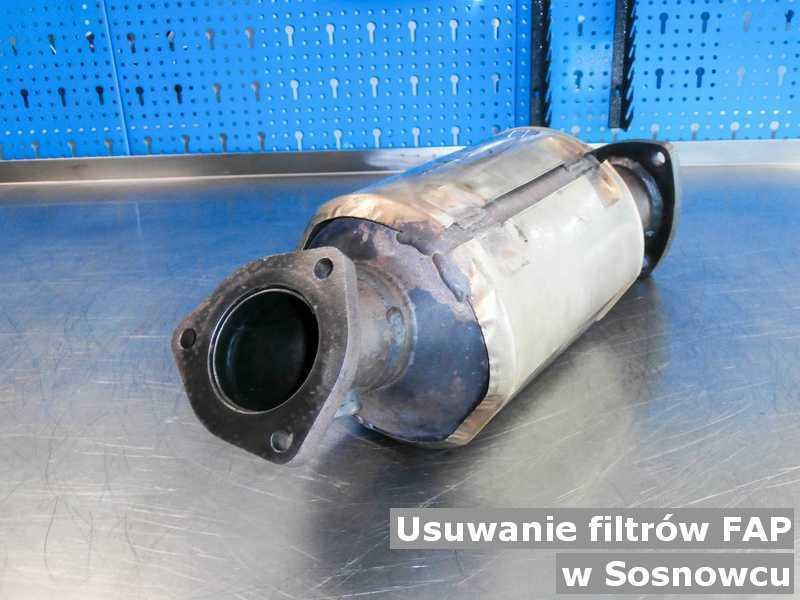 Filtr cząstek stałych FAP w Sosnowcu w laboratorium w miejsce usuniętego filtra cząstek stałych FAP przed wysyłką.