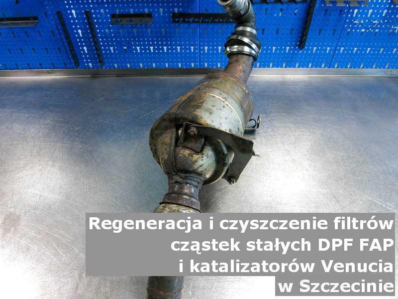 Wypalony katalizator utleniający marki Venucia, na stole, w Szczecinie.