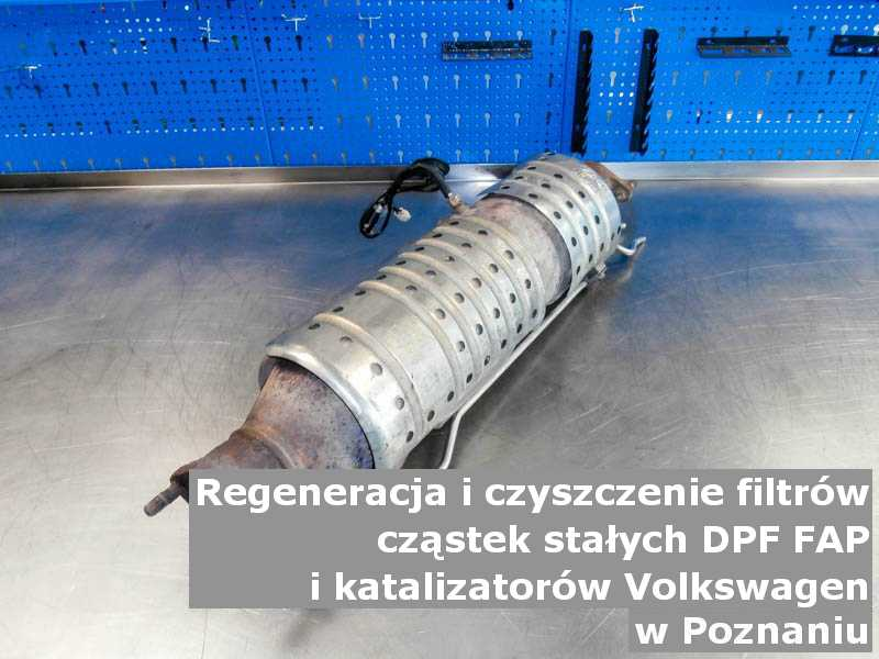 Wypłukany filtr cząstek stałych DPF/FAP marki Volkswagen, w pracowni laboratoryjnej, w Poznaniu.